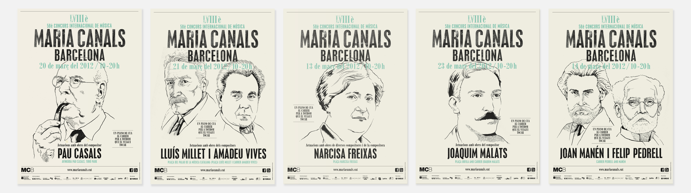 Posters for special concerts given in the streets named after catalan composers // Illustrations © Alfred Velaza
