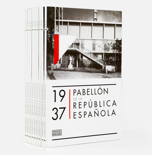 Packaging design for a miniature papel model of the Pavilion of the Spanish Republic build in 1937